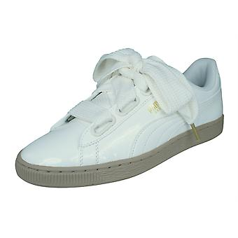 Puma Basket Heart Patent Womens Leather Trainers / Shoes - White