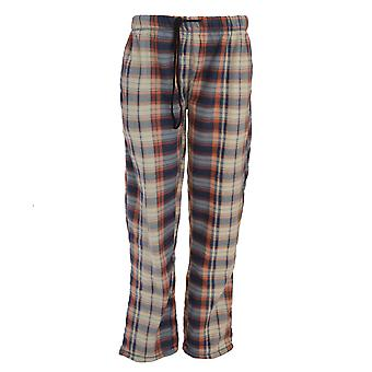 Brave Soul Mens Full Length Polar Fleece Pyjama Bottoms - Navy And Orange Tartan