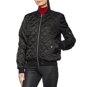 adidas Originals Womens Padded Quilted Zipped Bomber Jacket Coat - Black