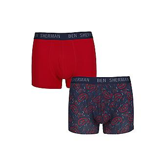 Ben Sherman Underwear Men's 2 Pack Boxer Trunk Shorts Navy Red Washington