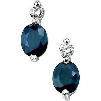 Elements Gold Skylight 9ct White Gold Sapphire and Diamond Earrings - Blue/White Gold