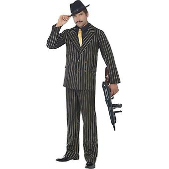 Smiffy Gold Nadelstreifen Gangster Kostüm