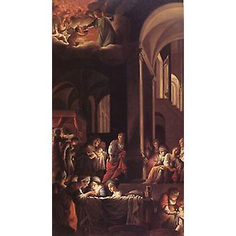 The Birth of the Virgin,Carlo Saraceni,80x40cm