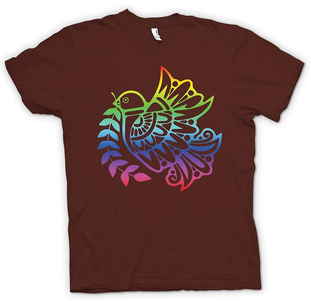 Mens T-shirt - Peace Dove Rainbow - Cool