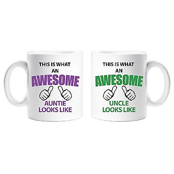 This Is What An Awesome Auntie Uncle Mug Set