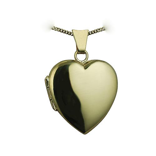 18ct Gold 21x19mm plain heart Locket with a curb chain