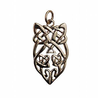 9ct Gold 26x16mm Celtic knot design Pendant