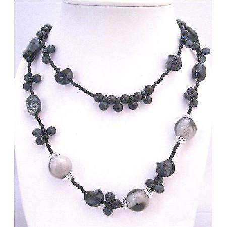 Double Stranded Long Necklace Black Tiny Beads Round & Multi Shaped