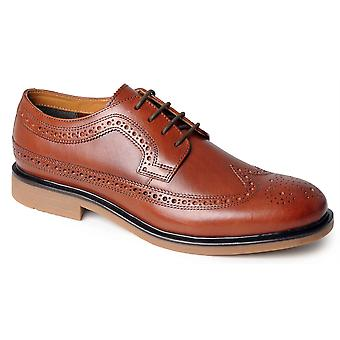 Mens Leather Formal Shoes Brogues Lace Up Smart Office Suit Casual