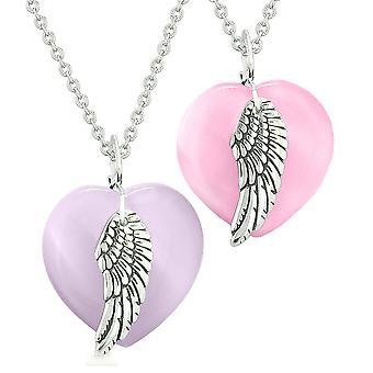 Amulets Angel Wing Hearts Love Couples or Best Friends Purple and Pink Simulated Cats Eye Necklaces