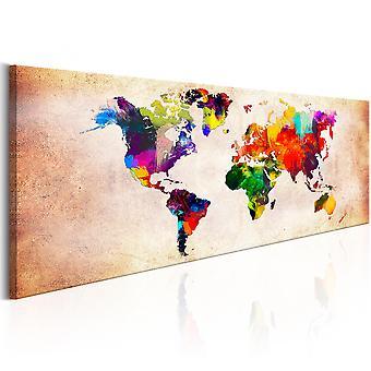 Canvas print-WereldKaart: kleurrijke wandeling