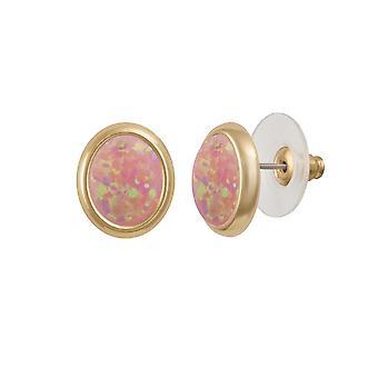 Eternal Collection Minuet Pink Opal Gold Tone Stud Pierced Earrings (MM)