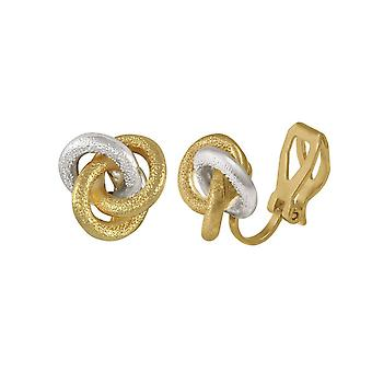 Eternal Collection Berkeley Two Tone Gold Stud Clip On Earrings