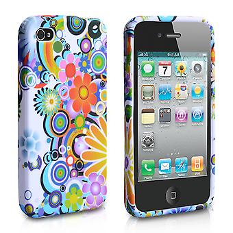 YouSave Accessories iPhone 4 4S Floral Rainbow Gel Case White