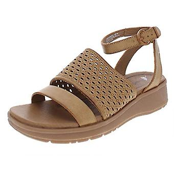 BareTraps Womens Rockwell Faux Leather Wedge Sandals Brown 9.5 Medium (B,M)