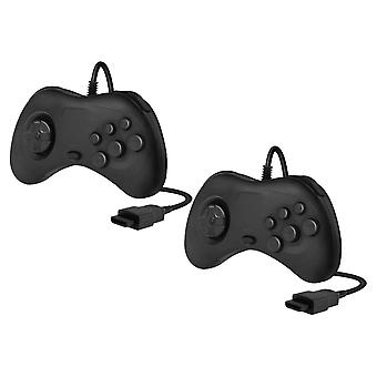 Wired controller for sega saturn compatible replacement with 1.8m cable - 2 pack black