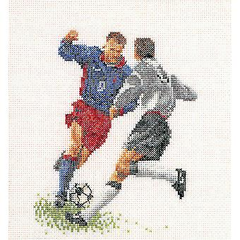 Football Soccer On Aida Counted Cross Stitch Kit 6 1 4