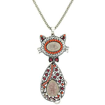 Fuchsia Pink Crystal & Beads Moveable Kitty Cat Pendant Necklace