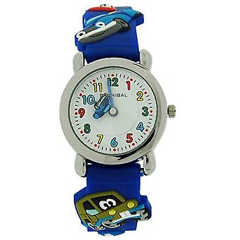 Cannibal pour enfants Kids voitures 3D Design Silicone bleu caoutchouc sangle Watch CK199-05