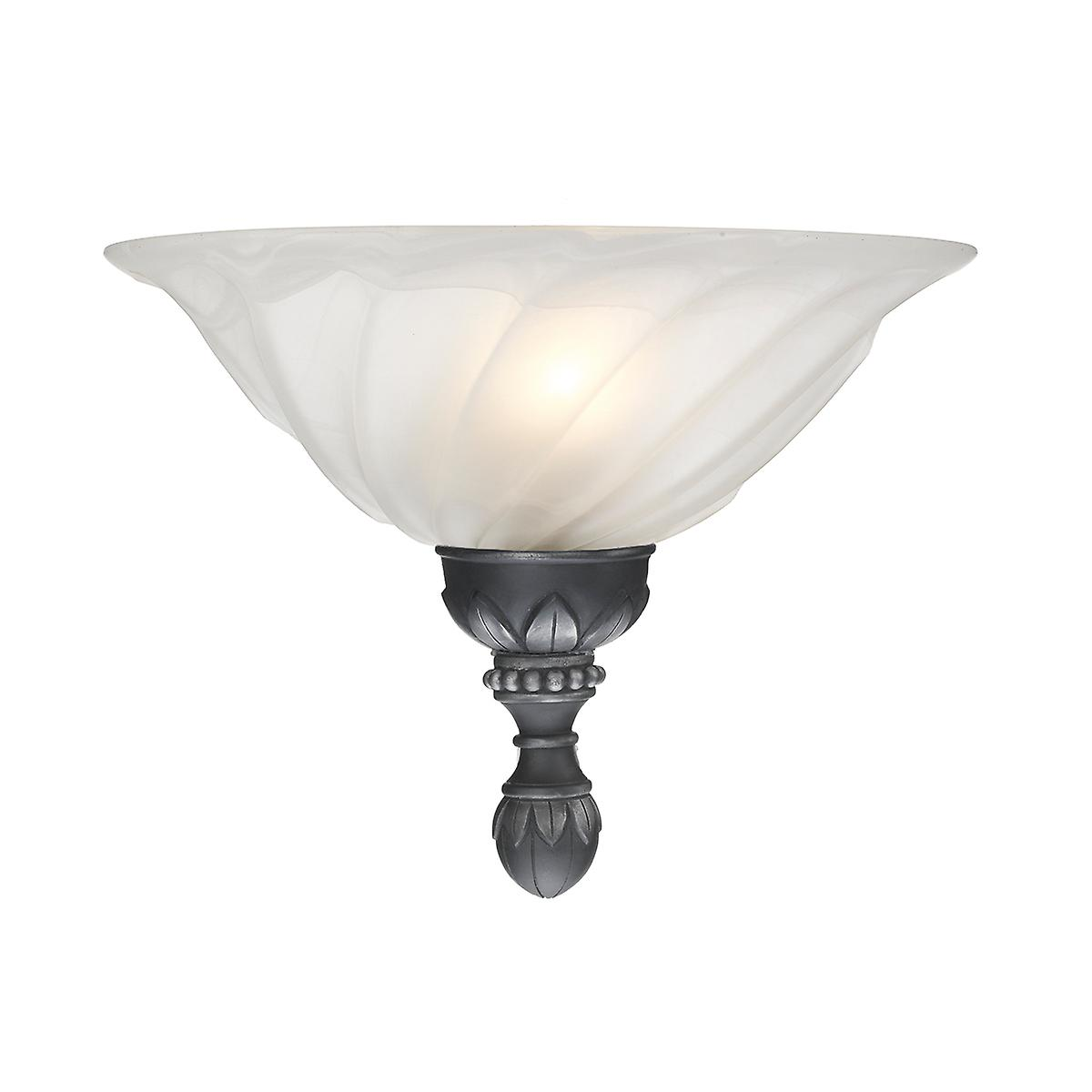 David Hunt OXW1 Oxford Wall Washer Light In A Black And Silver Finish With Glass