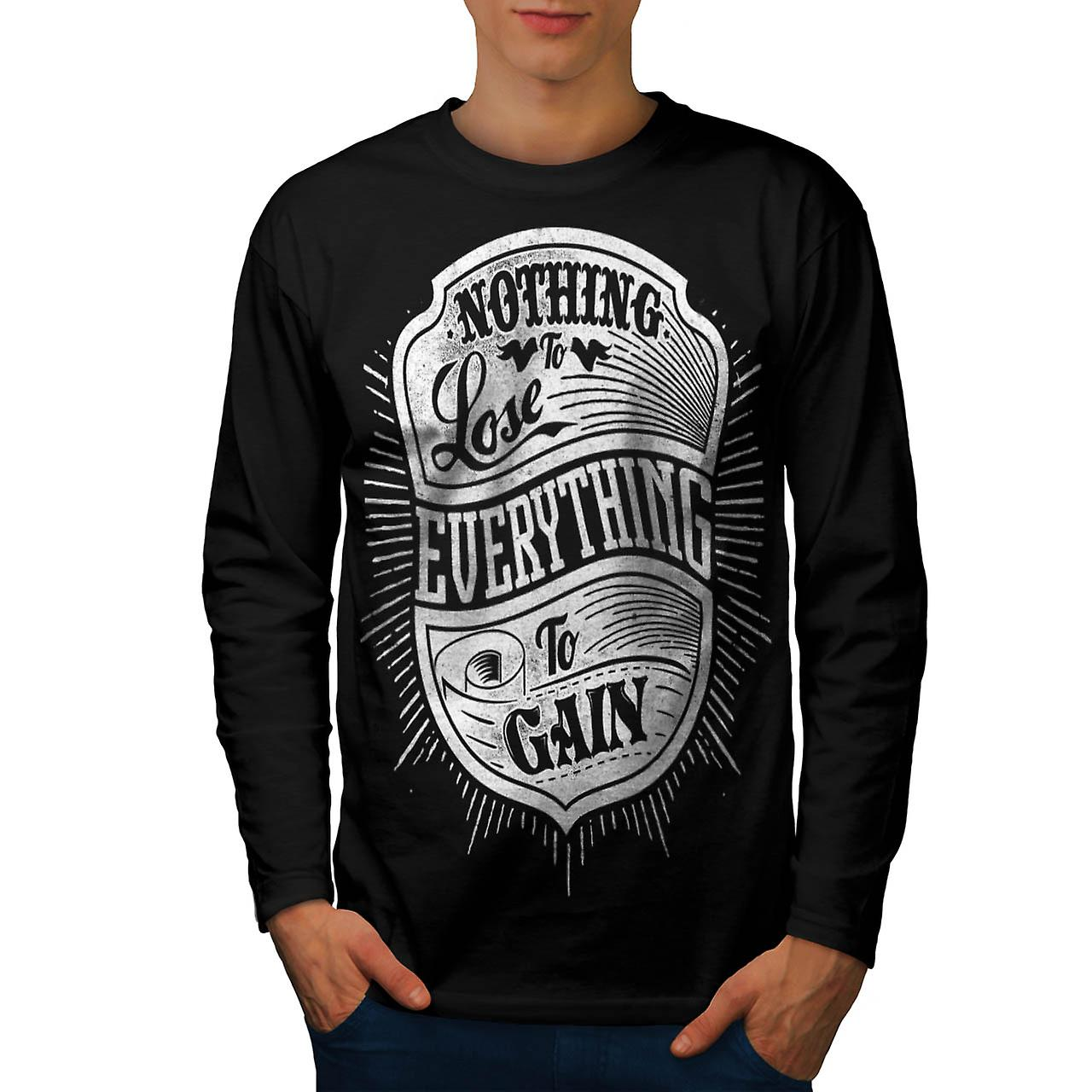 Nothing Lost Gain Gym Everything Men Black Long Sleeve T-shirt | Wellcoda