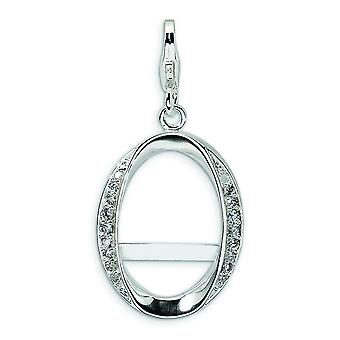 Sterling Silver Cubic Zirconia Oval Photo With Lobster Clasp Charm - Measures 34x16mm
