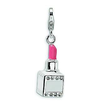 Sterling Silver Solid Polished Rhodium-plated Fancy Lobster Closure Enamel Crystal Pink Lipstick With Lobster Charm - Me