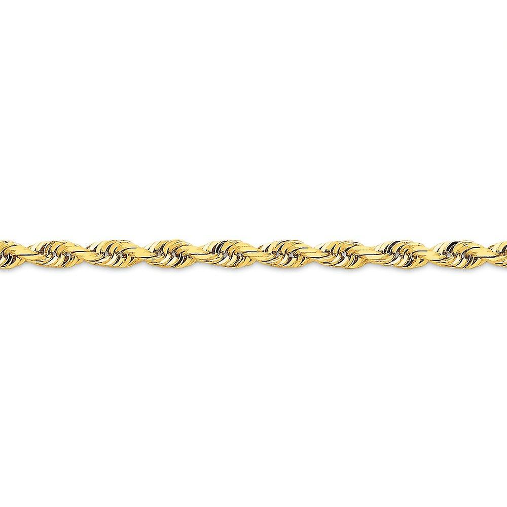 14k jaune or Solid Lobster Claw Closure 5.0mm Sparkle-Cut Quadruple Rope Chain Necklace - Length  20 to 30