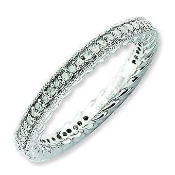 2.5mm Sterling Silver Stackable Expressions Polished Diamond Ring - Ring Size: 5 to 10