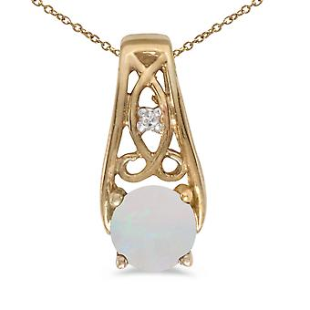10k Yellow Gold Round Opal And Diamond Pendant with 16