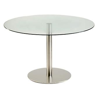 Oslone Round Glass Small Or Large Dining Kitchen Table Stainless Steel Brushed Frame - Various Sizes