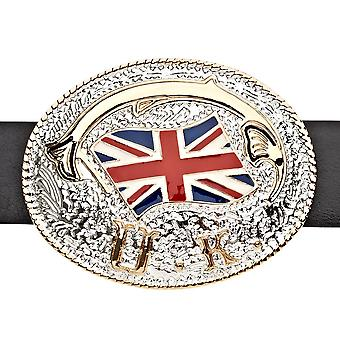 Iced out bling belt - UNITED Kingdom FLAG gold / silver