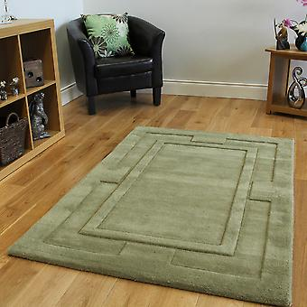 Green Carved Border Wool Rug Elements