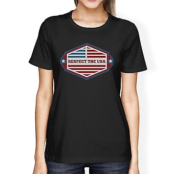 Respektera USA amerikanska flaggan Shirt dam svart Kortärmad Tee