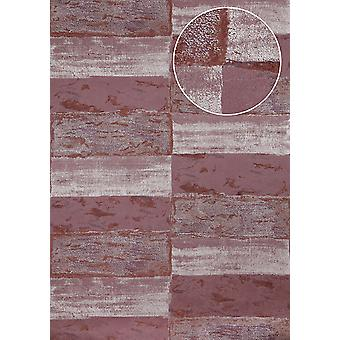 Stone tiles wallpaper Atlas ICO-2705-5 non-woven wallpaper smooth with natural patterns shimmering purple black red wine red Silver 5.33 m2