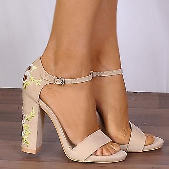 Shoe Closet Nude Ankle Strap Heels - Ladies Kara-1 Nude Embroidered Flower Print Strappy Sandals High Heels