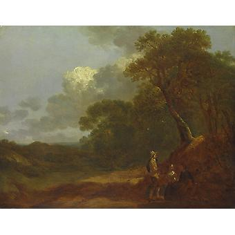 Thomas Gainsborough - Wooded Landscape with People Poster Print Giclee