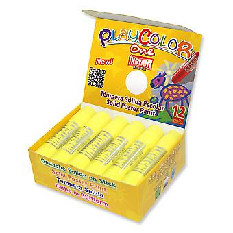 Playcolor Basic en 10g Solid plakat maling Stick (pakke med 12 - gul)