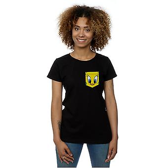 Looney Tunes Women's Tweety Pie Face Faux Pocket T-Shirt