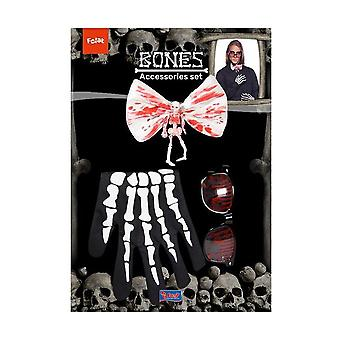 Bloody Halloween costume set 4-piece with fly glasses gloves