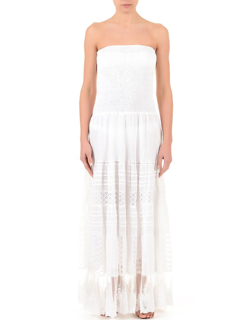 Iconique IC7-008 femmes& 039;s blanc Embroiderouge Cotton Strapless plage Robe