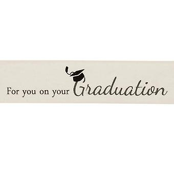 25mm Ivory Graduation Printed Ribbon - 20m | Ribbons & Bows for Crafts