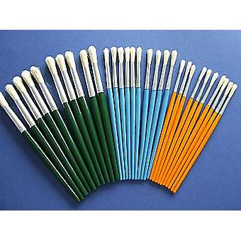 30 Mixed Round Tip Brushes for Arts and Crafts | Kids Paint Brushes