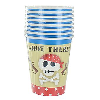 8 Pack Blue Pirate Paper Cups Party Accessory