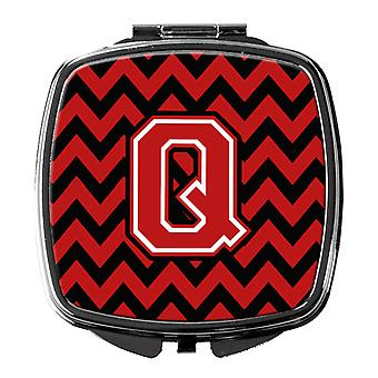 Carolines Treasures  CJ1047-QSCM Letter Q Chevron Black and Red   Compact Mirror
