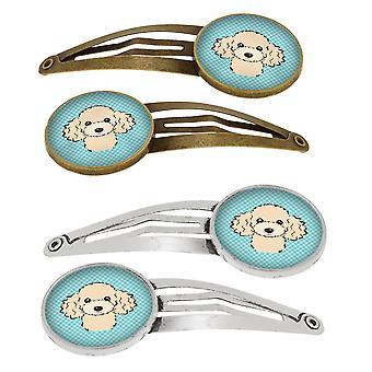 Damero azul Poodle juego de 4 pinzas de pelo de broches
