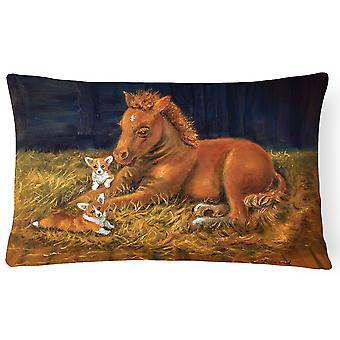Corgi Sunrise with Colt  Fabric Decorative Pillow