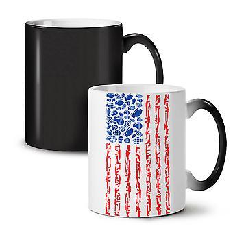 America Flag Grenade USA NEW Black Colour Changing Tea Coffee Ceramic Mug 11 oz | Wellcoda