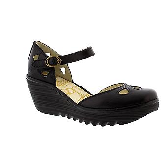Fly London Yuna - Black Mousse (Leather) Womens Heels