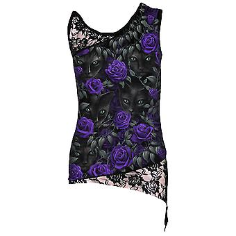 Spiral Direct Gothic THE WATCHERS - Allover Adj Shoulder Lace Top Black|AlloverPrint|Cat|Roses